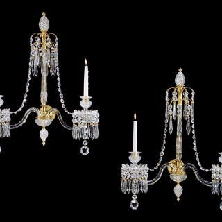A HIGHLY IMPORTANT PAIR OF ENGLISH GEORGE III PERIOD WALL LIGHTS
