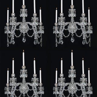 A HIGHLY IMPORTANT SET OF FOUR CUT-GLASS WALL LIGHTS BY F&C OSLER