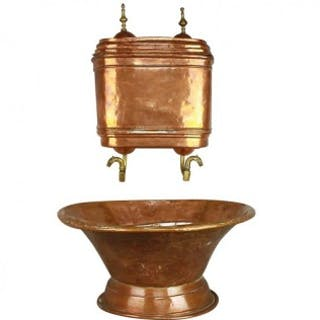 French 18th Century Copper Repoussé Wall Fountain Lavabo or Water Reservoir