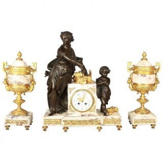 French 19th Century Large Louis XVI Style Clock or Pendule Garniture