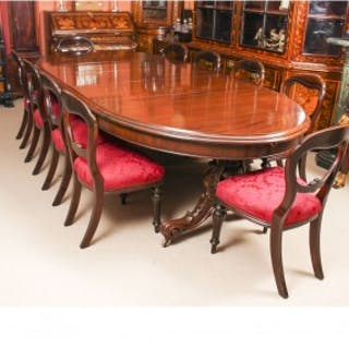 Antique Victorian Mahogany Twin Base Dining Table & 10 chairs 19th Century