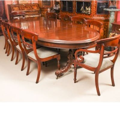 Antique Victorian Mahogany Twin Base Dining Table 19th C 10 Chairs Barnebys
