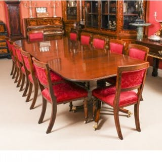 Antique George III Regency Dining Table & 12 Upholstered Back Chairs 19th C