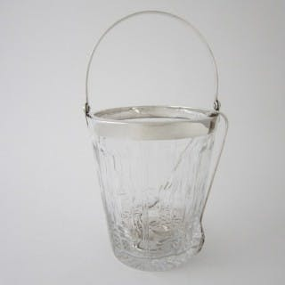 Antique George V Sterling silver and glass ice bucket