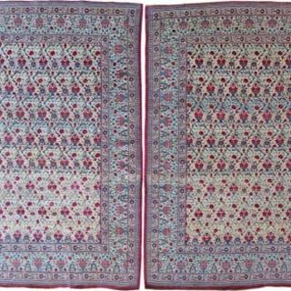 Pair of Tehran rug, wool and silk highlights