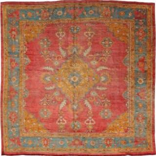 Rare square Antique Oushak carpet