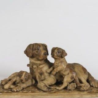 A 'Black Forest' Carved Dog Group