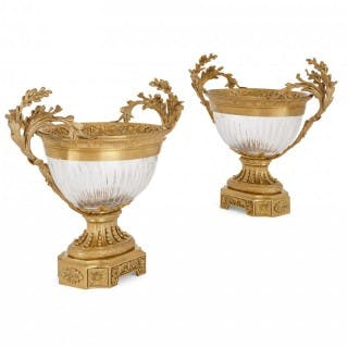Two Neoclassical style gilt bronze and glass centrepiece bowls