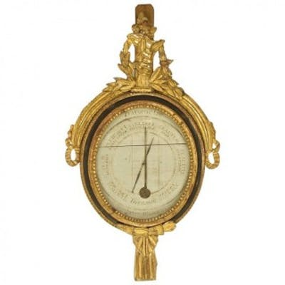 18th Century French Louis XVI Giltwood and Painted Barometer
