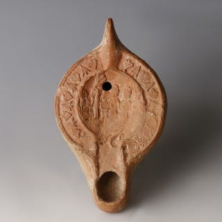 Roman Oil Lamp with Nebuchadnezzar and the Three Hebrews