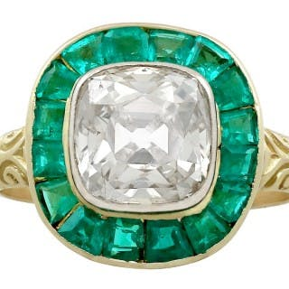 3.25ct Emerald and 1.92ct Diamond, 18ct Yellow Gold Dress Ring - Antique