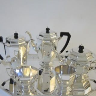 Art Deco George V Sterling silver tea set on tray