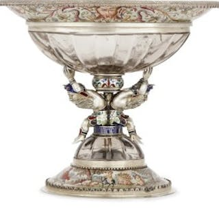 Viennese silver, enamel and rock crystal cup
