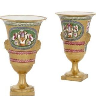 Two Empire period gilt porcelain vases by Dihl et Guérhard
