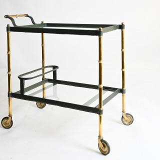 olive green leather Jacques Adnet drinks trolley