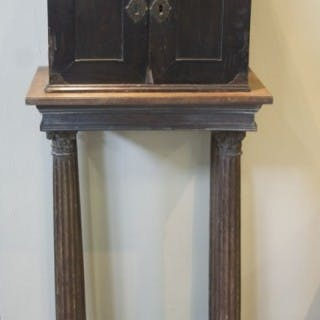 An early 17th century Flemish ebony veneered table cabinet
