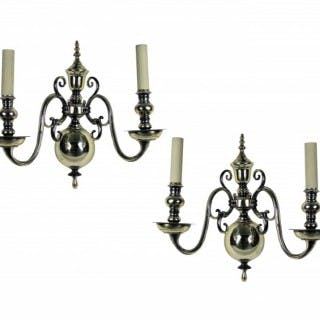 A PAIR OF ENGLISH SILVER PLATED WALL SCONCES