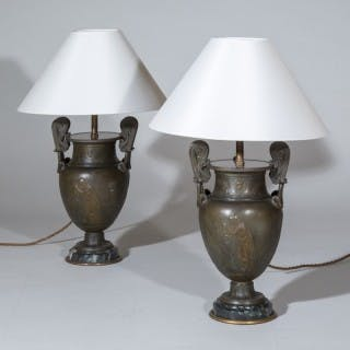 Pair of 19th Century Grand Tour Greek Bronze Volute Krater Table Lamps