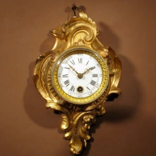 A Delightful Very Small Gilded French Cartel D'alcove Clock In the