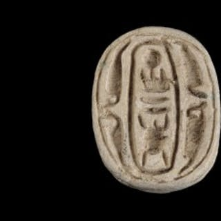 White Steatite Scarab with Royal Cartouche