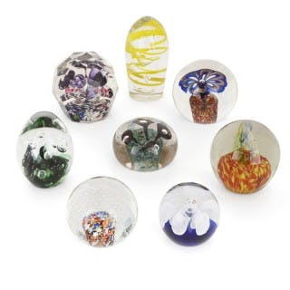 Eight French decorative glass desk paperweights