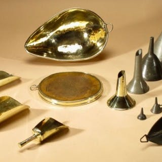 A Very Nice Brass, Pewter and Tin Original Collection Of Kitchenware.