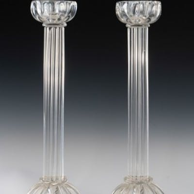 Pair of Seguso candlesticks 2 by John Loring of Tiffany & co.