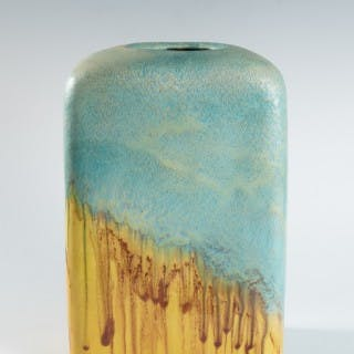 Large turquoise and yellow slab vase by Marcello Fantoni