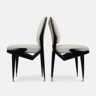 Ico Parisi Pair of Ebonized Side Chairs