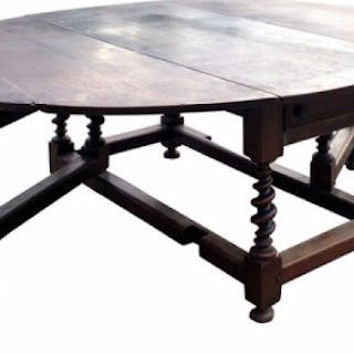 Very Large 17th Century Oak Gateleg Dining Table.