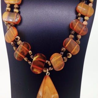 Art Deco Amber and Glass Necklace.