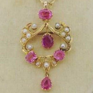 Pink Topaz Pendant and Chain.