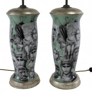 A PAIR OF FORNASETTI INSPIRED DECLAMANIA LAMPS