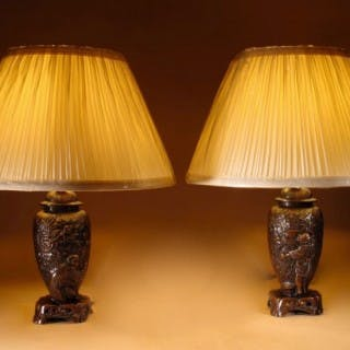 An Interesting Pair Of Japanese Table lamps. Circa 1900