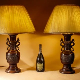 A Large Pair Of Japanese Bronze Table Lamps, Circa 1900.
