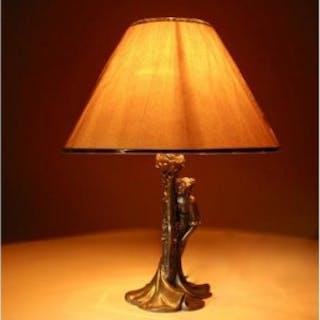 An Original Art Nouveau Period Amusing Table Lamp, Continental Germany/Austria