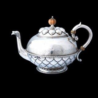 A John Hardman & Co gothic revival silver teapot