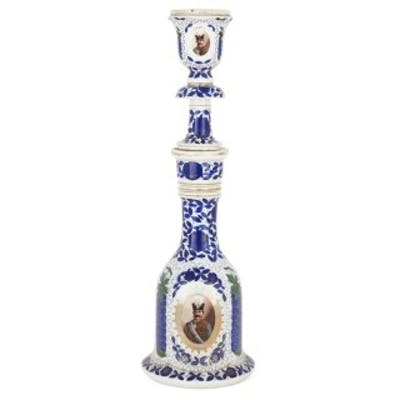 19th Century porcelain huqqa with Persian decoration