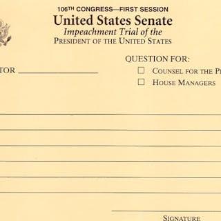 Bill Clinton Senate Impeachment Trial Question Card -- January 1999