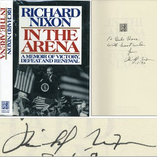 Richard Nixon Signed First Edition of His Book ''In The Arena''
