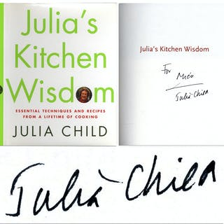 Julia Child Signed First Edition of ''Julia's Kitchen Wisdom''