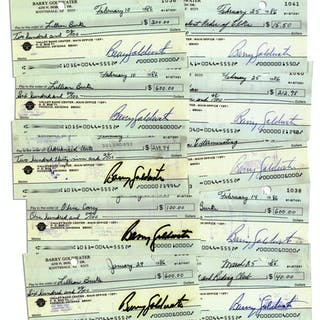 Lot of 10 Checks Signed by Conservative Icon Barry Goldwater -- While