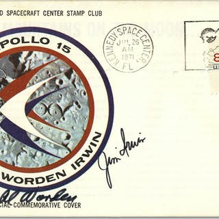 Apollo 15 Crew-Signed NASA Issue Astronaut Insurance Cover -- ''Al