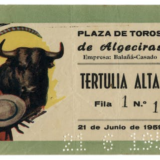 Ernest Hemingway's Own Bullfighting Ticket From 21 June 1959 -- From