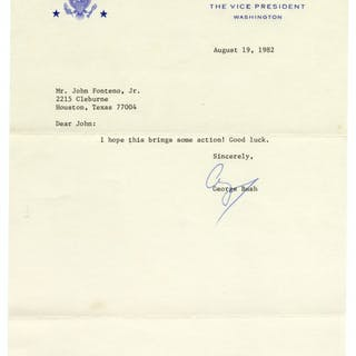 George H.W. Bush Letter Signed as Vice President -- ''I hope this