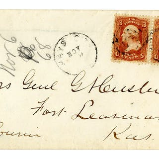 George Custer Envelope Made Out in His Hand to his Wife -- ''Mrs.