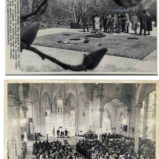 Two Original 10'' x 8'' Press Photos -- Mass Honoring John F. Kennedy's