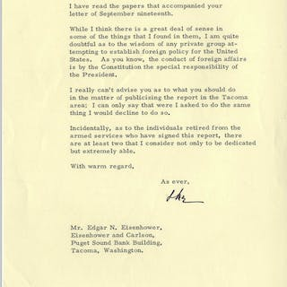 Dwight Eisenhower Typed Letter Signed to His Brother Edgar -- ''...I