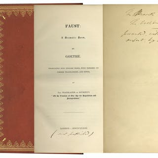 Scarce Copy of ''Faust'' Privately Printed & Inscribed by Its Translator