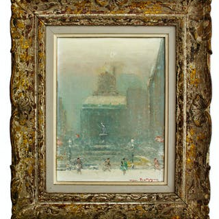 Johann Berthelsen Evocative Painting of The Plaza, New York